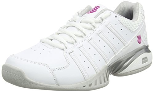 K-Swiss Performance Damen Receiver III Carpet Tennisschuhe, Weiß (White/Silver/VERYBERRY), 39.5 EU