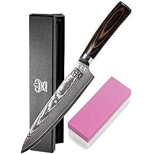 Zeuß XL Küchenmesser Damastmesser (32cm) - Profimesser - Santoku - Kochmesser - Chefmesser - Allzweckmesser - 67 Schichten Japanischem Damaststahl