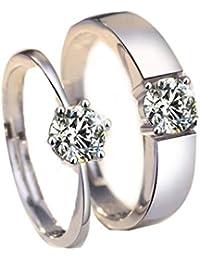 Trifycore anillo de compromiso de extremo abierto de plata esterlina Zirconia oro blanco plateado 1 par