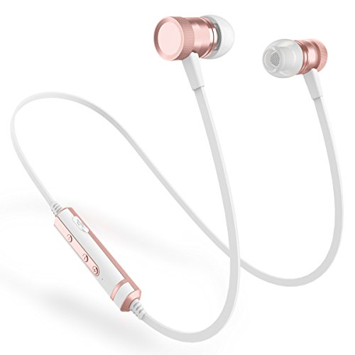 Picun Bluetooth Kopfhörer kabellos IPX4 Wasserdicht In Ear bloothooth kopfhörer mit Mikrofon Stereo Rich Bass/Bluetooth 4.1 Fitnessstudio/Laufen, Magnetische Ohrhörer für Android/IOS (Rose Gold)