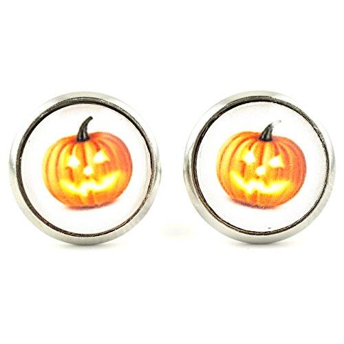SCHMUCKZUCKER Damen Ohrstecker Motiv Halloween Kürbis Modeschmuck Ohrringe silber-farben 14mm