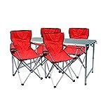 Mojawo - Multistore 2002 - Juego de Muebles de Camping (Aluminio, 120 x 60 x 58/70 cm, 1 Mesa de Camping XXL, Altura Regulable, con asa y 4 sillas Plegables), Color Rojo
