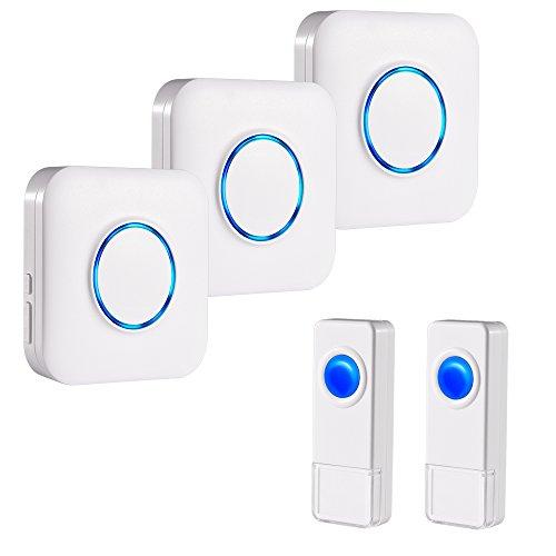 Campanello Senza Fili Impermeabile IP55 BITIWEND Wireless Doorbell 3 Ricevitore E 2 Trasmettitore Con Azione 300 Metri 52 Suoni Differenti 4 Livelli Di Volume Indicatore LED Per Casa Negozio Ufficio