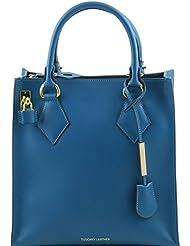 Tuscany Leather - Fortuna - Sac à main vertical en cuir Ruga - Sarcelle