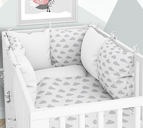 Biancheria per lettino e paracolpi - 6 cuscini in velluto per il lettino 60 x 120 cm.