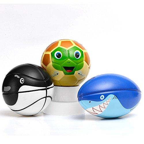 Chastep Spieleball 3er set Schaumstoff sport ball mit Basketball ,Fussball, American Fussball Softball Tiere Geschenk für Kinder