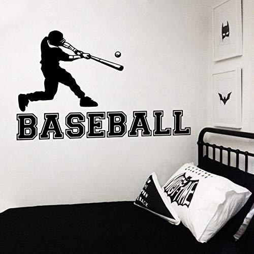Joueur de baseball mural autocollant sportif sportif vinyle sticker garçons chambre murale papier peint de sport décor de baseball joueur décalque 91x57CM