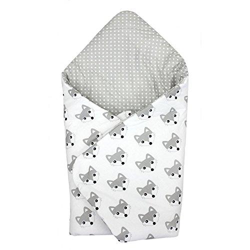 TupTam Baby Einschlagdecke Warm Wattiert Baumwolle, Farbe: Füchse Grau, Größe: ca. 75 x 75 cm