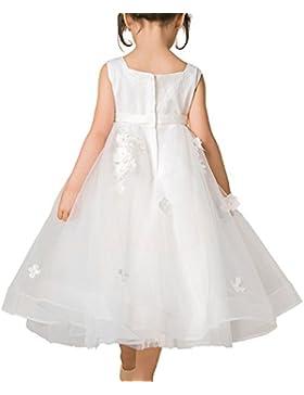Blume Mädchen Kleid Kinder Brautjungfer Applikationen Kleid für Hochzeit Party Festzug Blumenblätter Elfenbein...