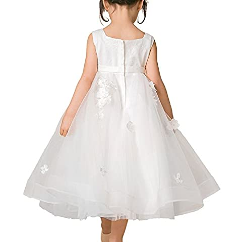 Flower Girl Dress Kids Bridesmaid Appliques Dress for Wedding Party Pageant Petals Ivory Tulle Formal Gown, white, 7-8 Jahre