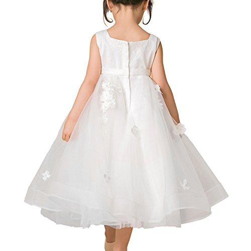 Blume Mädchen Kleid Kinder Brautjungfer Applikationen Kleid für Hochzeit Party Festzug Blumenblätter Elfenbein Tüll Formal Kleid (4-5 Jahr)