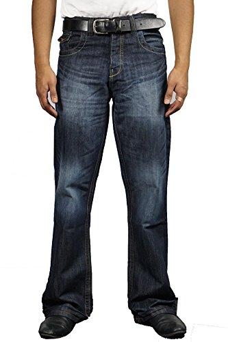 Nuovo da uomo Designer Bootcut svasato gamba larga Denim APT Jeans Dark Wash 28W x 30L