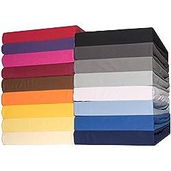 CelinaTex Topper Spannbettlaken 2er-Set Jersey Baumwolle 140x200-160x200 cm Spannbetttuch Doppelpack für Boxspringbetten-Topper 0004638 Lucina schwarz