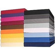 Sábana bajera ajustable para cama Celinatex 4567 cubre colchón de 140 x 200 - 160 x 200 cm funda de algodón Jersey-stretch Lucina, colour rojo rubí