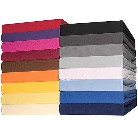 Spannbettlaken 2er-Set Jersey Baumwolle 90x200 - 100x200 cm Spannbetttuch Doppelpack für Standardmatratzen CelinaTex 0003420 Lucina