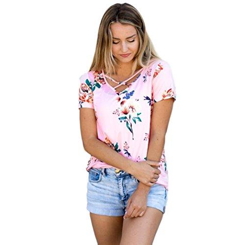 Hemd damen Kolylong® Frauen Sommer V-Ausschnitt Bandage Druck kurze Ärmel Bluse T-shirt Weste lose tank tops Rosa