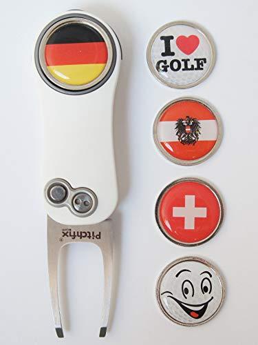RoLoGOLF Pitchfix Hybrid 2.0 - aufklappbare Pitchgabel in weiß/rot incl. 1 Golfball-Marker mit Motiv -