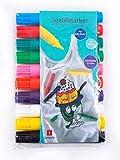Jamasia 999202-10er Textilmarker Set zum Bemalen von Stoff, 10 Stoffmalstifte im Etui, Textilstifte mit Strichstärke von 2 bis 5 mm, Textilmalstifte in 10 verschiedenen Farben