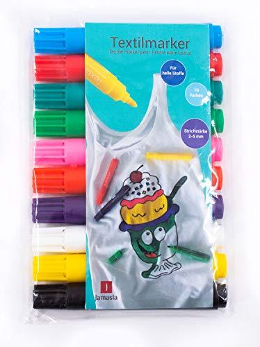 Jamasia 999202-10er Textilmarker Set zum Bemalen von Stoff, 10 Stoffmalstifte im Etui, Textilstifte mit Strichstärke von 2 bis 5 mm, Textilmalstifte in 10 verschiedenen Farben -