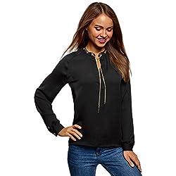 oodji Collection Mujer Blusa de Tejido Fluido con Decoración Metálica, Negro, ES 40 / M