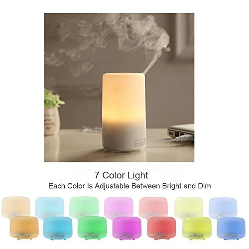 aijiwu USB Aroma Diffusor 50ml mit 7Farbe LED Lampen und automatische shout-off Mini Air Refresher tragbar für Auto/Büro/Schlafzimmer/Klassenzimmer