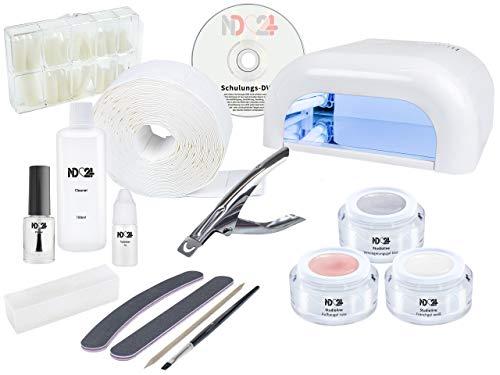 Nagelstudio STARTERSET DVD für Gelnägel - 4-Röhren-Lichtgerät UV Lampe weiß + Premium UV-Gel MADE IN GERMANY + Tips + Feilen + Pinsel + Schulungs-DVD + Zubehör - Gel Nägel STARTER SET BESTSELLER