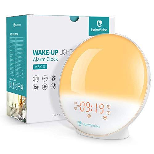 HeimVision® Wake-Up Light, Smart Sveglie Digitali da Comodino Lampada Notturna con 7 Colori, Radiosveglia, Compatibile con Alexa Echo e Google Home APP, Regalo per Donna Uomo Bambini Compleanno