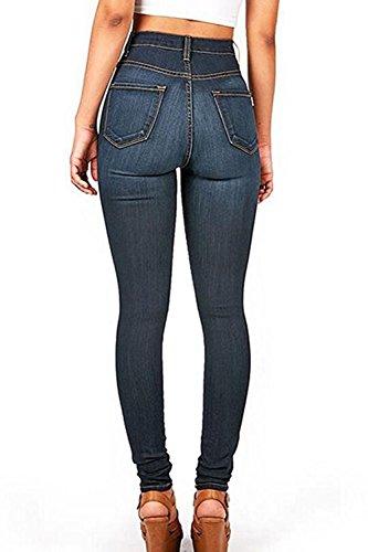 Les Pantalons En Jean Taille Haute, Printemps Automne Long Pantalon Extensible Darkblue