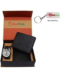 RedFish Stylist Wrist Men Watch And Black Wallet Combo - (RDF-1010-JV)