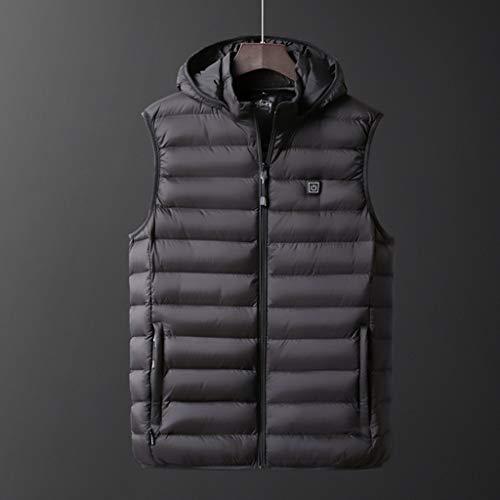 USB climatizada chaleco de invierno de los hombres de la chaqueta eléctrica climatizada Sleevless viaje de calefacción al aire libre chaleco chaleco chalecos de senderismo Calentadores,Negro,XXXXXL