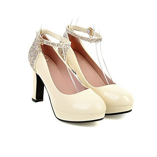 VogueZone009 Femme Rond à Talon Haut Matière Souple Couleur Unie Boucle Chaussures Légeres Beige