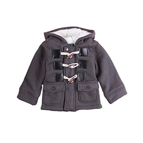 Baby Kinder Jungen Wintermantel mit Kapuze Steppjacke Winter Herbst Hooded Oberbekleidung Warm Fleece Duffle Mantel (80, Grau) (Kind Mädchen, Nerd Halloween-kostüme)