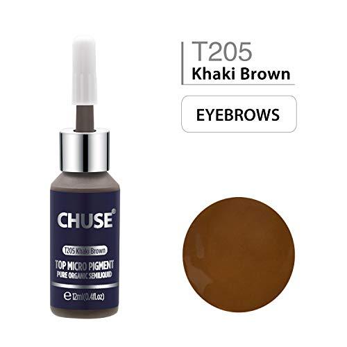 CHUSE T205 Kaki marron Couleur cosmétique permanente d'encre de tatouage de maquillage de micro-colorant de Microblading SGS passé, DermaTest 12ml (0.4fl.oz)
