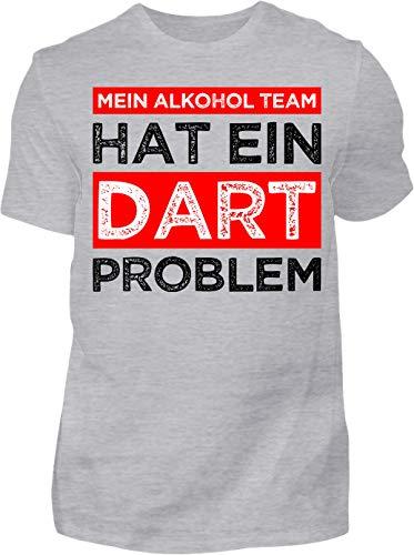 Kreisligahelden T-Shirt Herren Mein Alkohol Team hat EIN Dart Problem - Kurzarm Shirt Baumwolle mit Spruch Aufdruck - Hobby Freizeit Fun Dart Darts 180 (S, Grau)