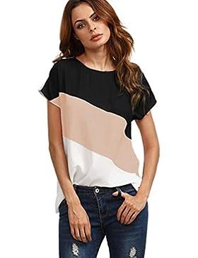 K-youth® Camiseta Para Mujer, Verano Camisetas Cortas Manga Mujer Redondo Túnica de Manga Corta Camisas Casual...