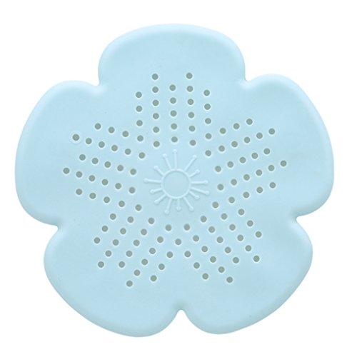 ODN Silikon Abflusssieb Blume Form Haar Sieb Waschtisch Küche Spüle Badewanne Dusche Haare Abflusssieb (Grün)