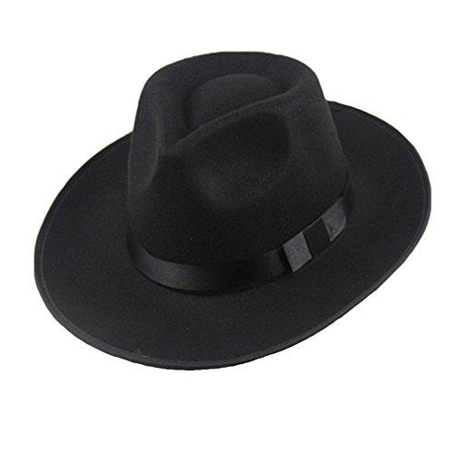 Yying Vintage Hombres Mujeres Sombrero De Fieltro Duro ala Tipo Fedora Trilby Sombrero De Panamá Gorro Gangster Negro One Size