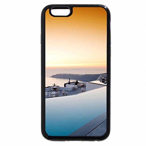 iPhone 3S/iPhone 6Coque (Noir) coucher de soleil sur Santorin