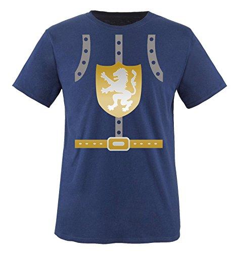 Comedy Shirts - Ritter KOSTÜM II - Kinder T-Shirt - Navy/Silber-Gold Gr. ()