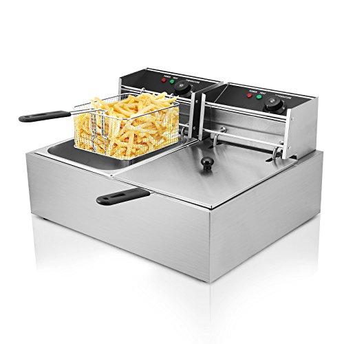 Hodoy 5000w friggitrice elettrica professionale capacità 12l friggitrice patatine fritte friggitrice per cucinare in casa o negozio con doppia vasche (yb-82a)