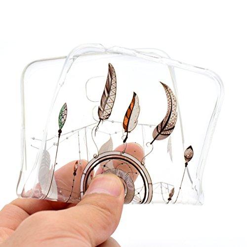 Coque LG X Screen, LG X Screen Coque Silicone, SainCat Ultra Slim Transparent TPU Case pour LG X Screen, Anti-Scratch Gel Housse Transparent Silicone Case, Support Protection Anti Choc Shell, Couvrir  Pendentif Plume