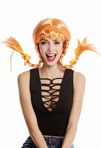WIG ME UP - DDH-T8175-PC21 Perücke Damenperücke Karneval Halloween Freche Göre Lolita steife geflochtene Zöpfe orange - Freche Kostüm Für Erwachsene