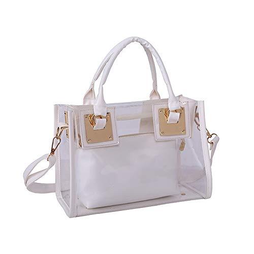 AlwaySky Damenmode Transparente Tasche 2 in 1 Handtasche Top Griff Tote Schulter Crossbody Tasche Off White -