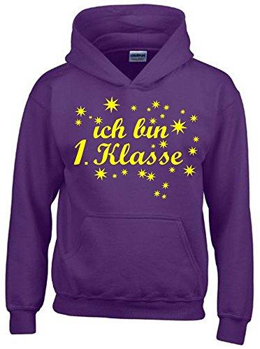 Ich bin 1. Klasse Mädchen Einschulung Schulanfang Hoodie Sweatshirt mit Kapuze lila-gelb, Gr.140cm (Lila Mädchen Pullover)