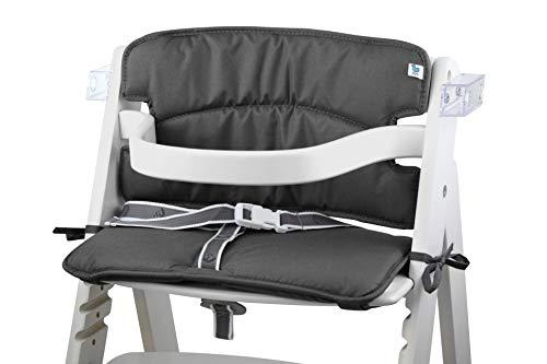 Tinydo® Hochstuhl-Sitzkissen optimal für Roba Sit Up 3 und ähnliche Treppenhochstühle - 2teilg. Set mit Memory-Schaum-Dämpfung Sitzverkleinerer Auflage Babystühle rutschfest pflegeleicht (dunkelgrau)