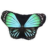 WOZOW Damen Schmetterling Kostüm Fasching Schals Nymphe Pixie Poncho Umhang für Party Cosplay Karneval Fasching (Türkis)