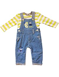 be8a30f8c5a8 Crazy Girls New Baby Denim Dungarees & Stripe Long Sleeve Top Outfit  Toddler Set 3 6