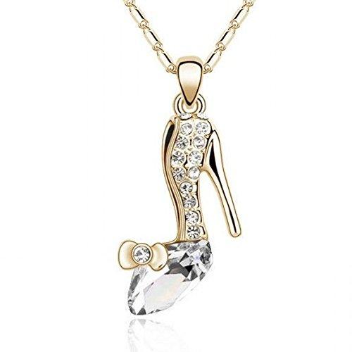 ZIZI ❤ Forever Crystal-Pantofola ❤-Collana placcata oro 18 k con cristalli Swarovski Elements ❤, 5 colori, senza confezione regalo Dazzling White