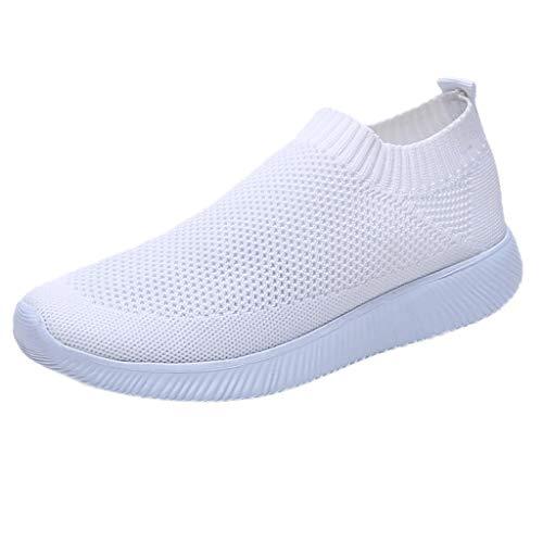 BHYDRY Donne Outdoor Mesh Tinta Unita Sport Scarpe Runing Traspirante Sneakers(35EU,Bianco)