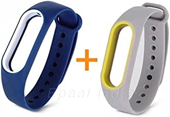 Epaal Dual Colour Wearable Silicone Smartband Strap Case for Xiaomi Mi Band 2 and HRX(Deep Blue - White line and Light Grey - Yellow line)